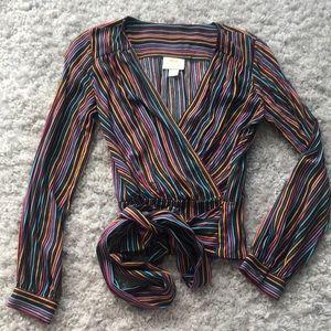 Anthropologie tie waist rainbow stripe blouse!